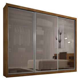 Guarda-roupa 3 Portas Com Vidro, Ypê, Boston