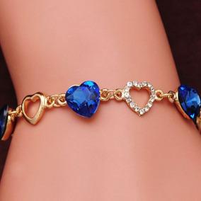 Pulseira Feminina Coração Linda Azul