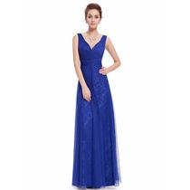 Vestido Festa Madrinha Casamento Azul Royal Longo Renda