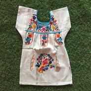 Vestido Mexicano Infantil Bebê T2 Bordado A Mão Original