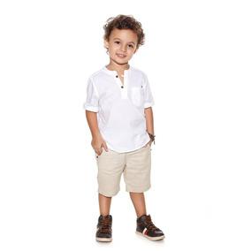 Conjunto Planet Kids Masc. Camisa/short Branco/palha 4962