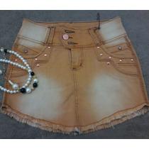 Mini Saia Jeans Colors Desfiada Promoção