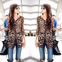 Tsuki Moda Asiatica: Blusa Sencilla Casual Leopardo Cinturon