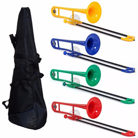 Trombon A Vara Tenor Soprano Colores Abs Funda Boquilla Kit