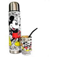 Termo Acero Inoxidable Y Mate Aluminio Madera Mickey Minnie
