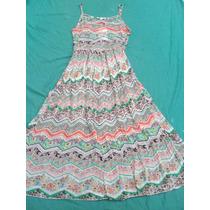 Vestido De Gasa Plisado Estampado Nuevo Forrado Talle S - M