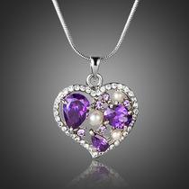 Precioso Collar Dije Corazon Cristal Swarovski Regalo Amor !