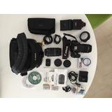 Cámara Canon Rebel T5i Kit 18-55mm + 55-250mm + Flash Sigma