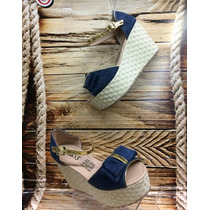 Sandalia Plataforma Bajitas Azul Mujer Fabricantes Calzado