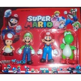 Boneco Mario Bros Kit Com 4 Personagens +acessórios