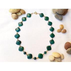 Hermoso Collar De Piedra Crisolia Oro Laminado 14k, Verde