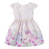 Vestido Feminino Infantil Rosa Unicórnio Rodado Coleção Nova