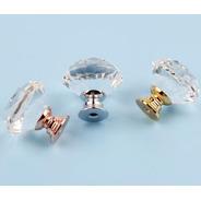 Puxador Cristal Vidro Lapidado Cromado 10 Peças Gavetas Móv