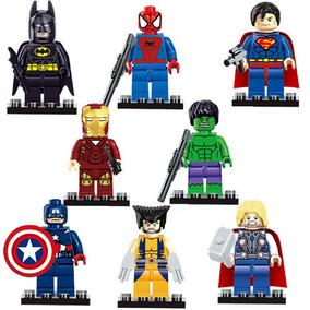 Kit 8pçs Lego Avengers Homem De Ferro Aranha Hulk Wolverine