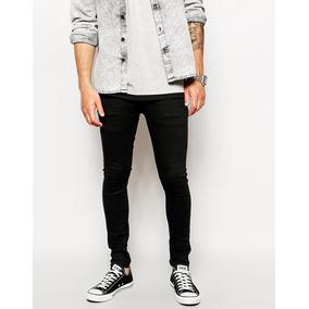 Pantalon Jeans Negro Hombres Elasticados .
