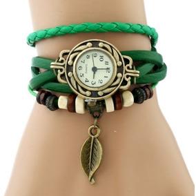 Pulseira Couro Relógio Moda Vintage Coreana Vermelho E Verde