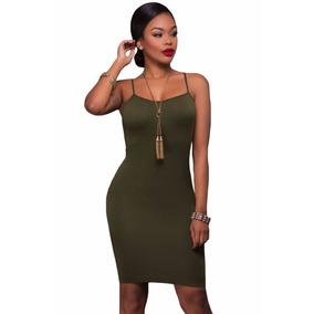 Vestido Sexy Verde Olivo De Tirantes Fiesta Moda Antro 22953