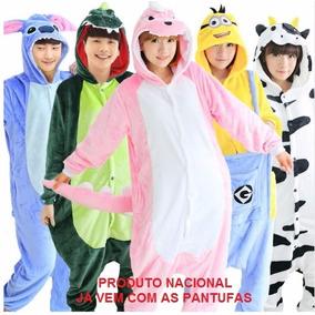 Pijama Macacão Adulto Bicho Com Capuz (vem Incluso Pantufa)