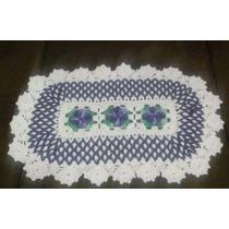 Tapete Crochê - Barbante Cru Com Flores Coloridas