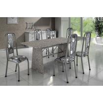 Mesa Granito Seis Cadeiras C/ Estofados