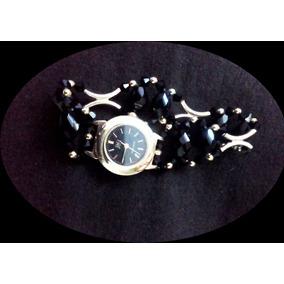 Reloj Negro Metálico Con Dorado Para Mujer/resiste El Agua