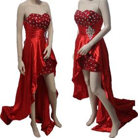da7683e60 Vestido Rojo De Noche Con Cristales Y Lentejuela