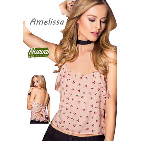 Blusa Camiseta Juvenil Espalda Descubierta De Moda Rosa
