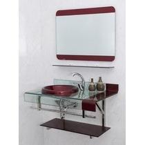 Gabinete Banheiro Chopin Vidro Vinho 70x53x46 Com Espelho
