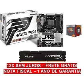 Kit Gamer Asrock Ab350 Pro4 Am4 + Ryzen R5 2400g + 8gb Ddr4