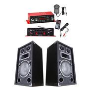 Amplificador Con Usb Y Bluetooth + 2 Parlantes De 8 + Fuente