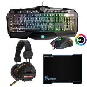 Kit Gamer Teclado Y Mouse 3200dpi Rgb + Pad + Auricular Led