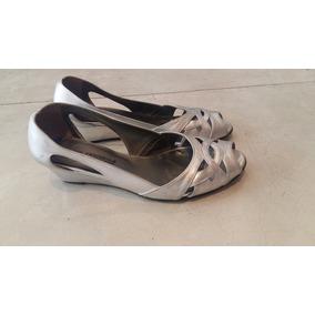 Zapatos Plateados Con Taco