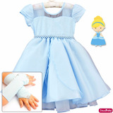 Vestido Festa Infantil Alice Cinderela Frozen Brilho E Luvas