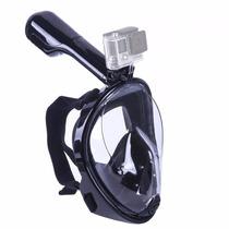 Máscara De Mergulho Snorkel C/ Suporte Para Câmera Gopro