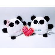 Pareja Mini Pandas Peluche Nombre Personalizado Aniversario