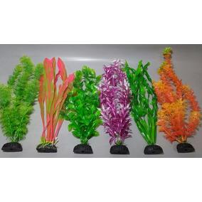 Plantas Artificiais Aquários Colors Kit 6 Un. - 27 À 30 Cm
