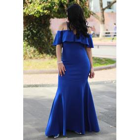 Vestido De Fiesta Largo Azul De Noche Sexys Para Mujer