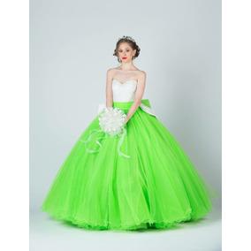 Vestido xv verde neon