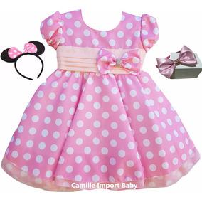 Vestido Infantil Festa Minnie Rosa 1 Ao 4 Anos Com 2 Tiaras