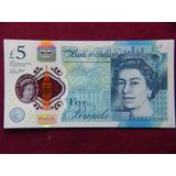 Hermoso Billete Polimero Banco De Inglaterra 5 Pounds 2015