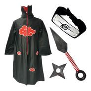 Naruto Disfraz Niños Bata Akatsuki Banda Kunai Itachi Uchiha
