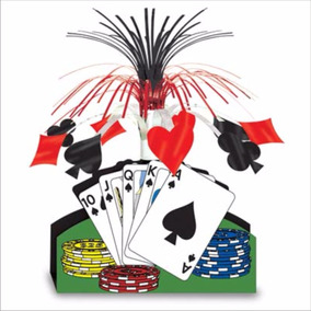 Centro De Mesa Cartas Poker Casino Fiesta Animacion