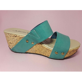 Sandalia Plataforma Verde Aqua Azul Para Dama