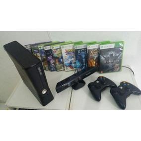 Xbox 360 Desbloqueado+kinect+2controles+10jogos Frete Gratis