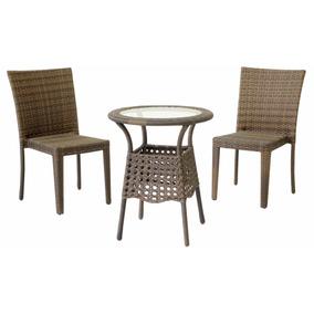 Jogo Conjunto 2 Cadeiras E Mesa De Aluminio E Fibra Sintetic