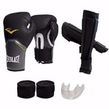 Kit Boxe Muay Thai Luva + Caneleira + Prot. Bucal+ Bandagem