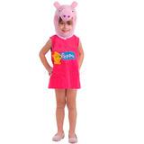 Fantasia Original Peppa Pig Porquinha Vestido E Capuz
