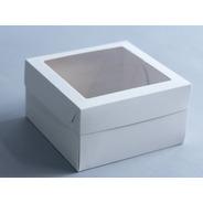 Caja Mediana 18x18x10 Cm C/visor (x 50u.) Tortas Postres Sandwich Lunch Regalos Pvc Acetato - 052 Bauletto