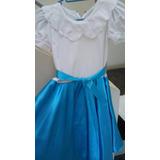 Vestido Corto De Fiesta Niña Azul Talla 8