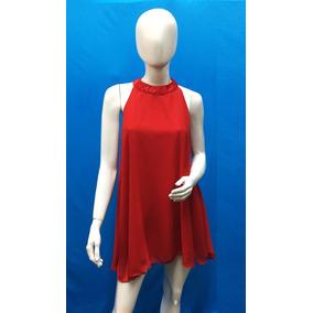 Vestido Medio Cuello Mao Liso De Gasa Roja